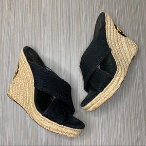 Tory Burch Black Kristen Espadrille Wedge Sandals